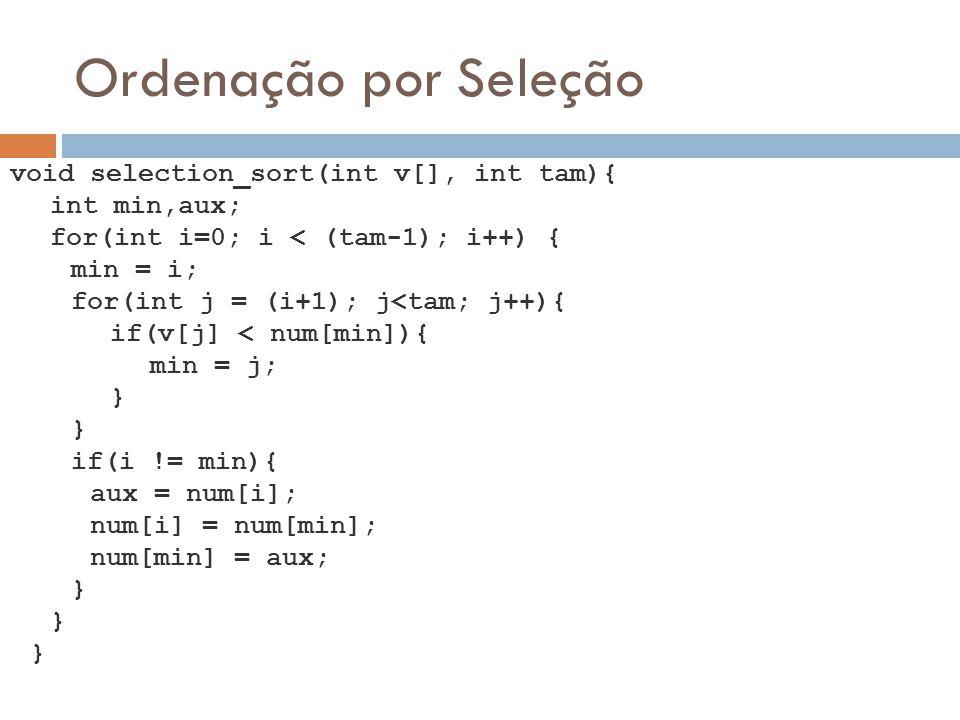 Ordenação por Seleção void selection_sort(int v[], int tam){